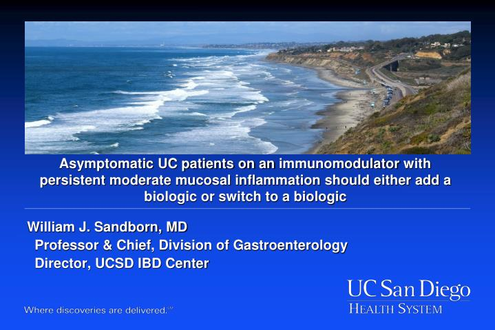 Asymptomatic UC patients on an