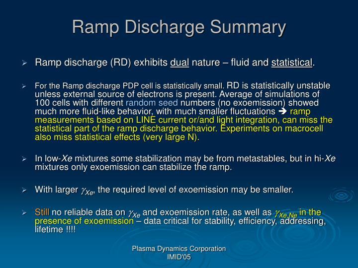 Ramp Discharge Summary