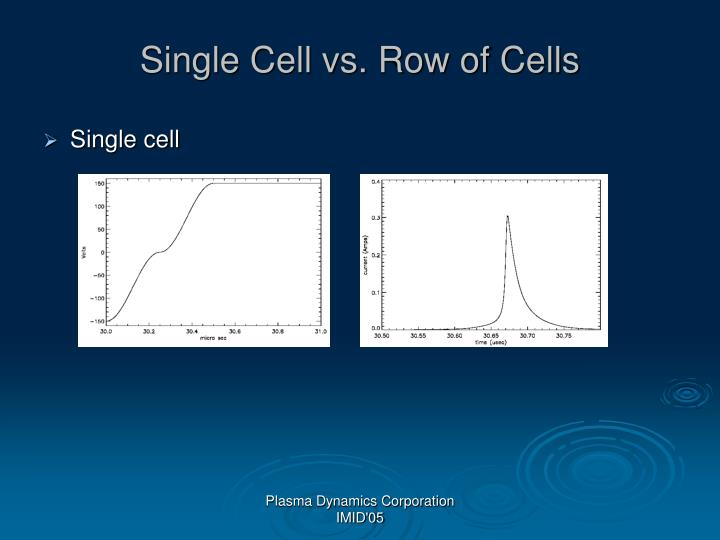 Single Cell vs. Row of Cells