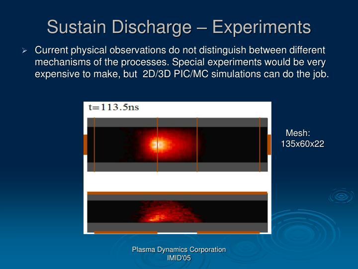 Sustain Discharge – Experiments