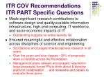 itr cov recommendations itr part specific questions