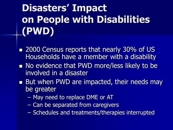 Disasters' Impact