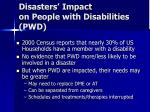 disasters impact on people with disabilities pwd