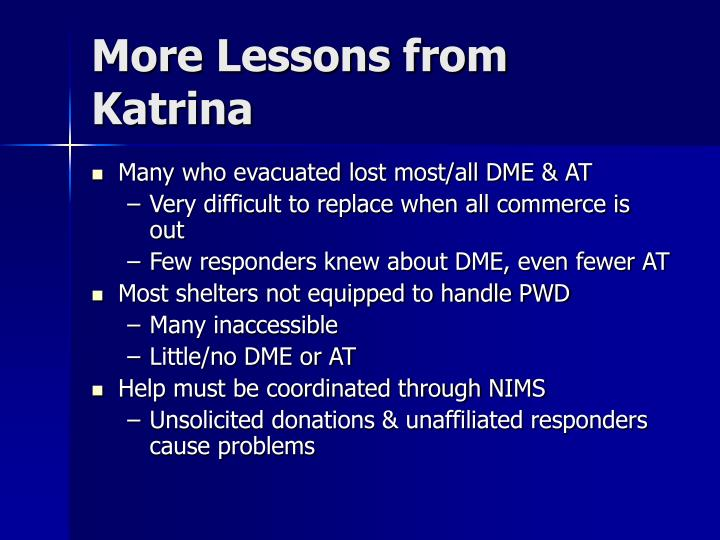 More Lessons from Katrina