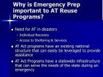 why is emergency prep important to at reuse programs