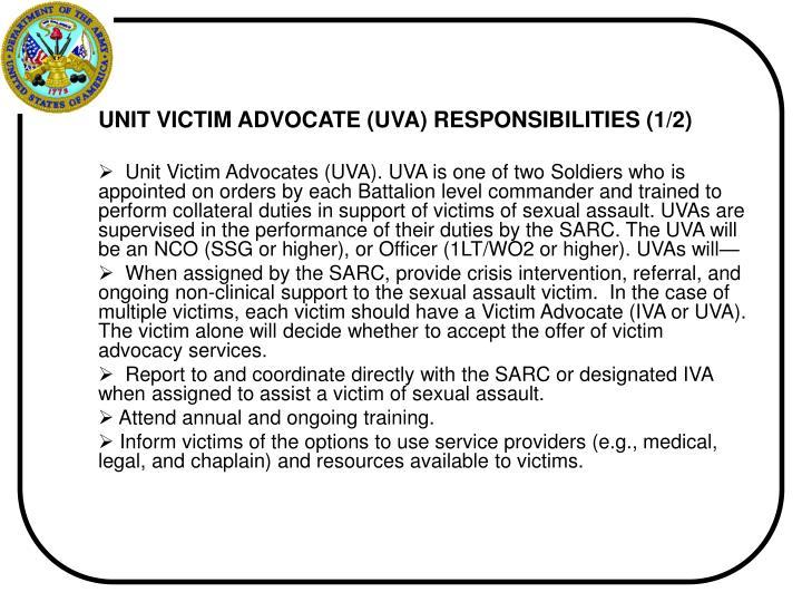 UNIT VICTIM ADVOCATE (UVA) RESPONSIBILITIES (1/2)