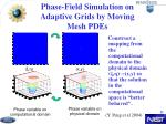 phase field simulation on adaptive grids by moving mesh pdes