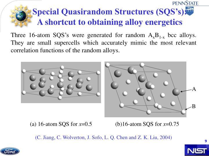 Special Quasirandom Structures (SQS's):