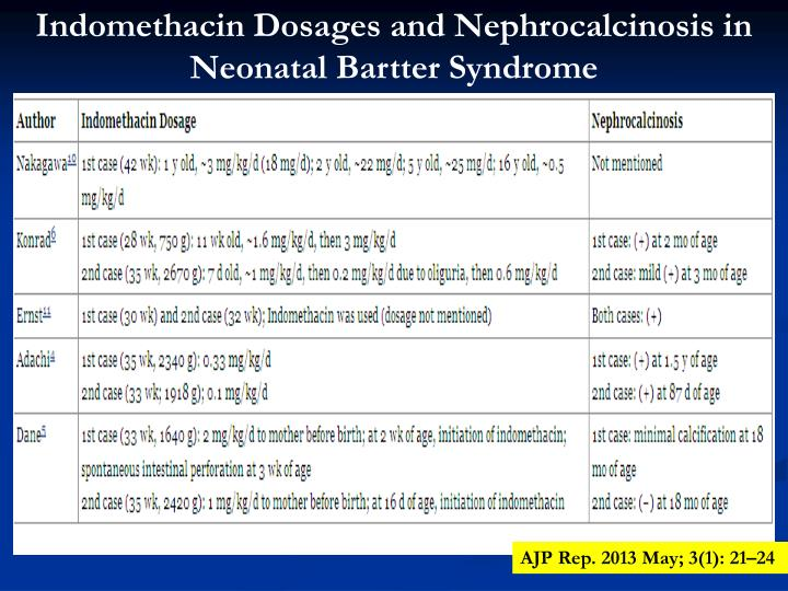 Indomethacin Dosages and Nephrocalcinosis in