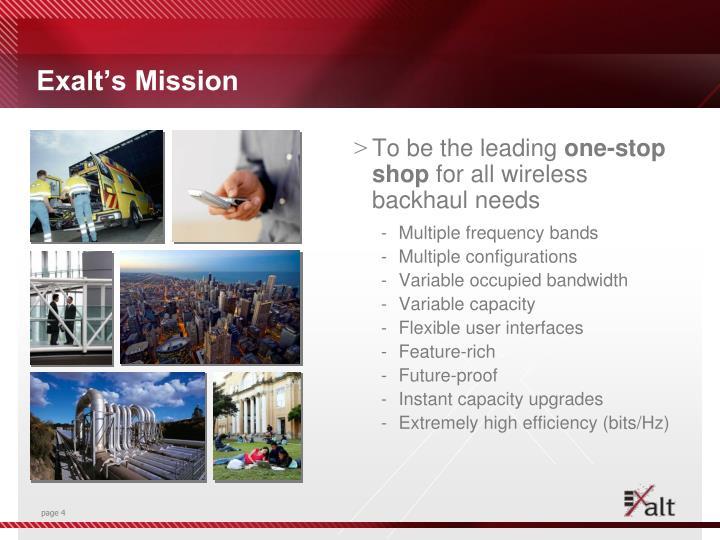 Exalt's Mission