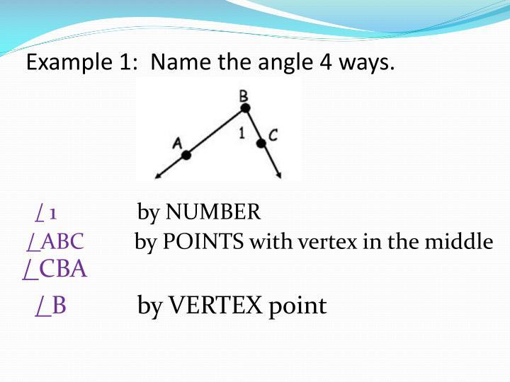 Example 1:  Name the angle 4 ways.