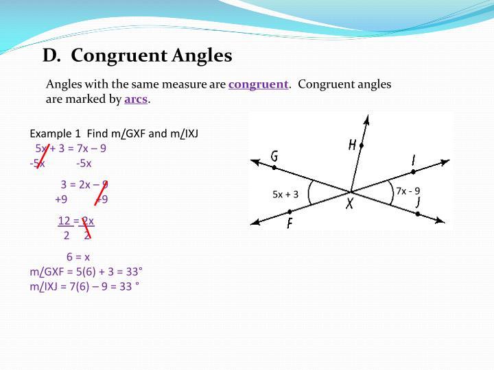 D.  Congruent Angles
