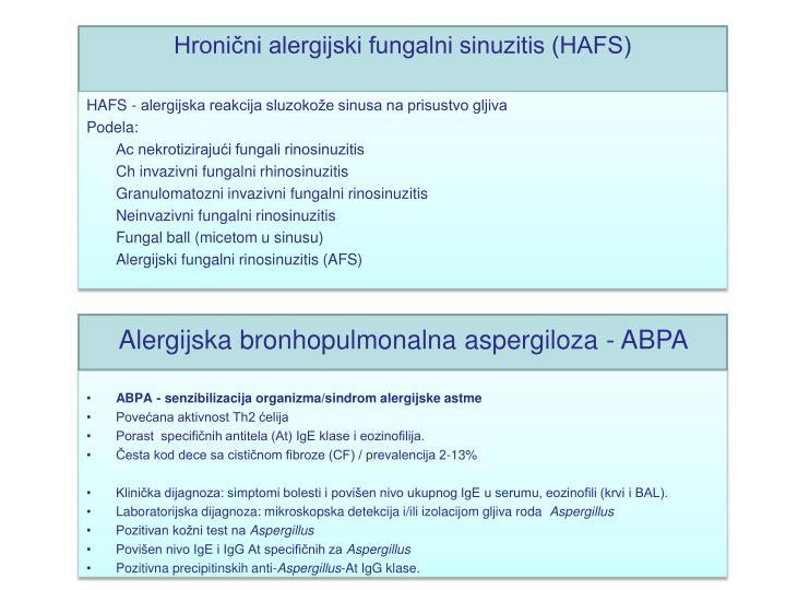 Hronični alergijski fungalni sinuzitis (HAFS)