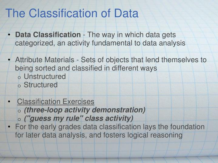 The Classification of Data