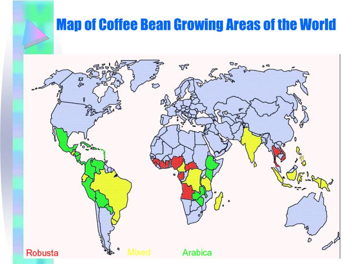 Map of Coffee Bean Growing Areas of the World