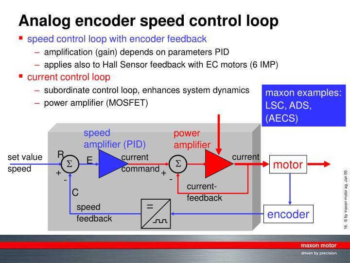 Analog encoder speed control loop