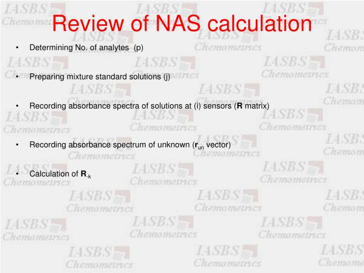 Review of NAS calculation