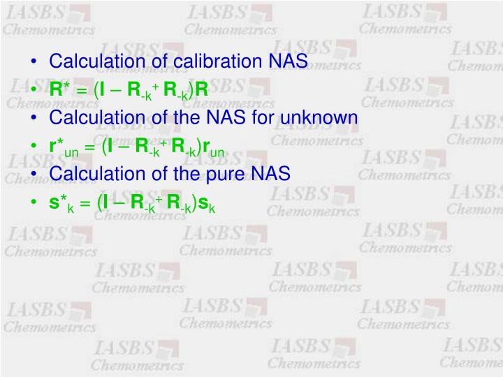 Calculation of calibration NAS