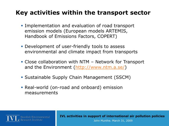 Key activities within the transport sector