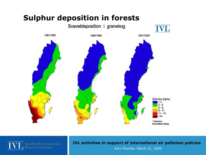 Sulphur deposition in forests