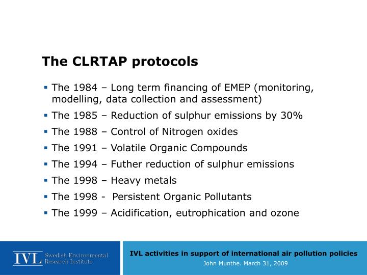 The CLRTAP protocols