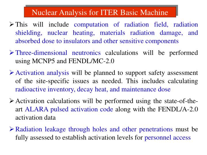 Nuclear Analysis for ITER Basic Machine