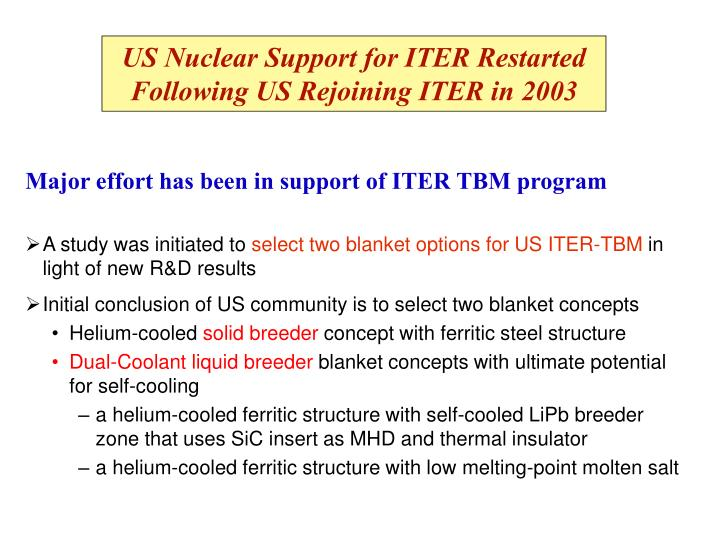 US Nuclear Support for ITER Restarted Following US Rejoining ITER in 2003