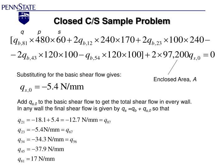 Closed C/S Sample Problem