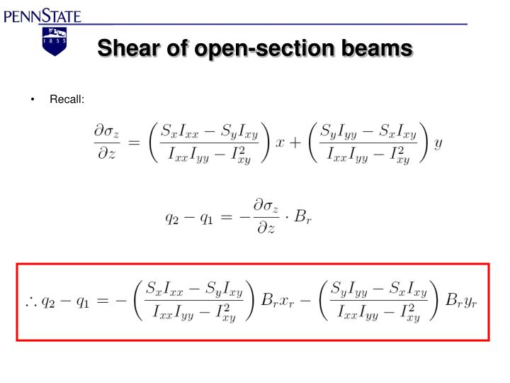 Shear of open-section beams