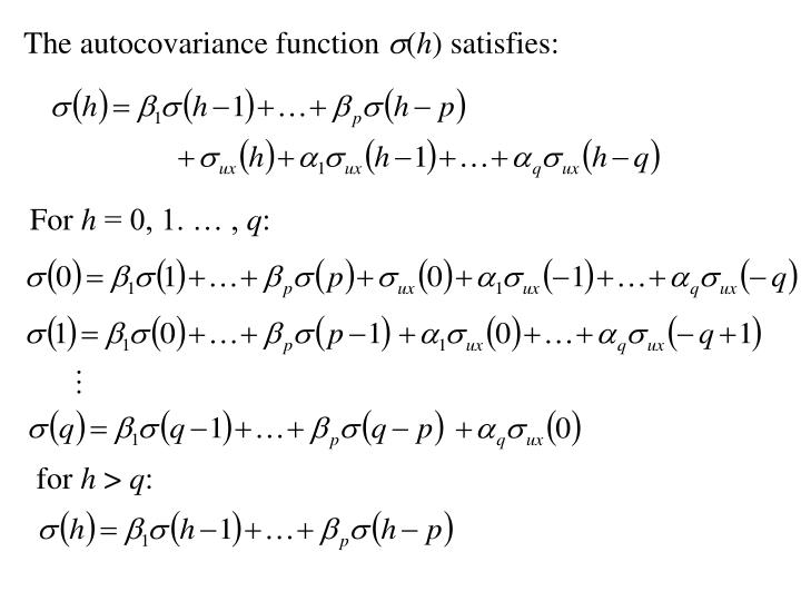 The autocovariance function
