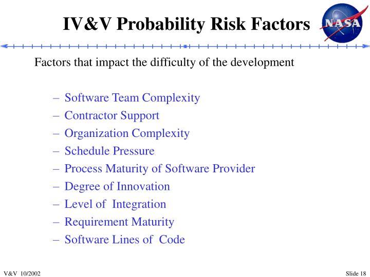 IV&V Probability Risk Factors