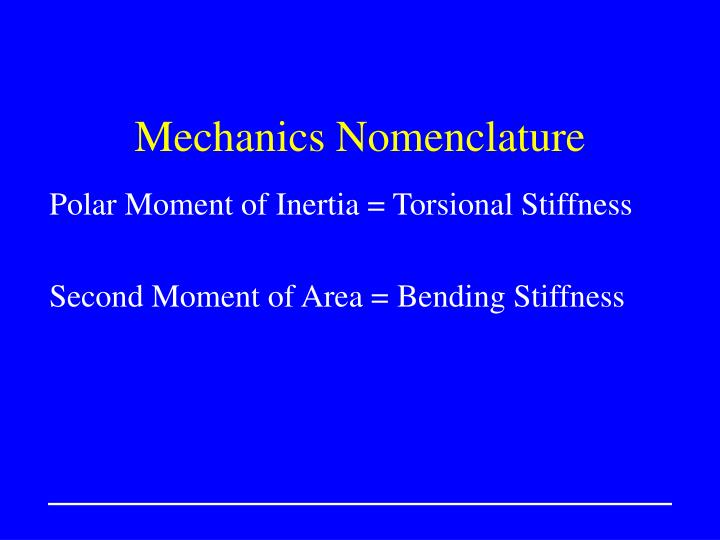 Mechanics Nomenclature