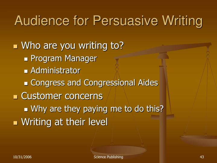 Audience for Persuasive Writing