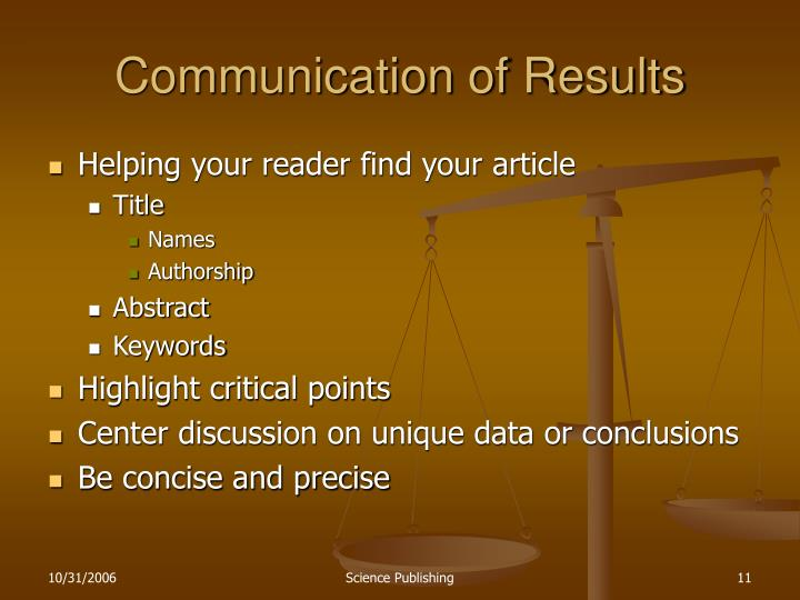 Communication of Results