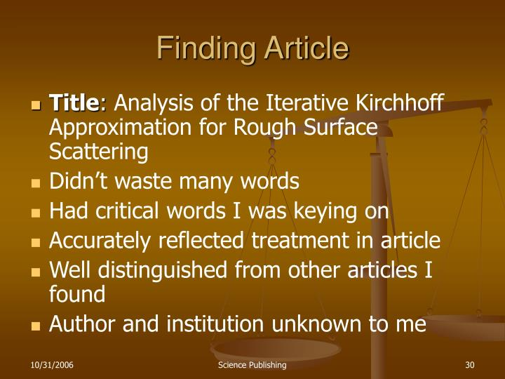 Finding Article