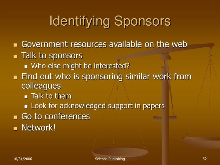 Identifying Sponsors