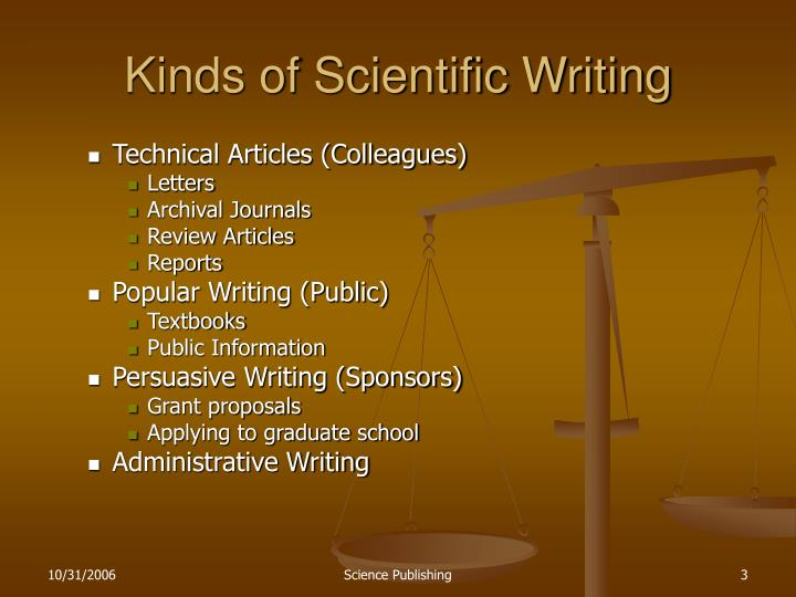 Kinds of Scientific Writing