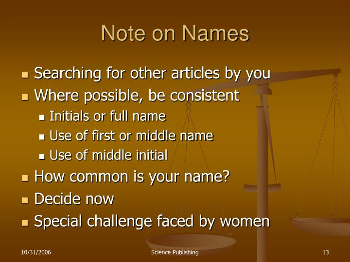 Note on Names