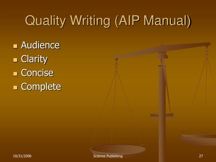 Quality Writing (AIP Manual)