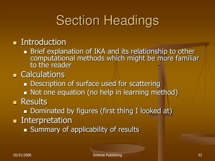 Section Headings