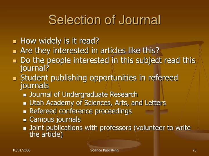 Selection of Journal