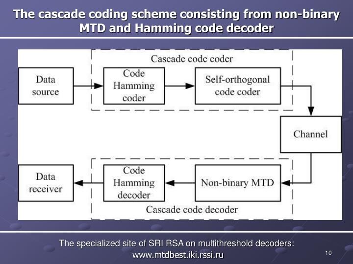 The cascade coding scheme consisting from non-binary MTD and Hamming code decoder