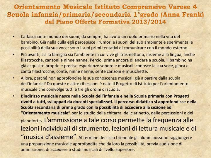 Orientamento Musicale Istituto Comprensivo Varese 4