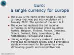 euro a single currency for europe