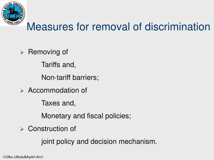 Measures for removal of discrimination