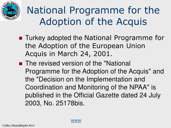 National Programme for the Adoption of the Acquis
