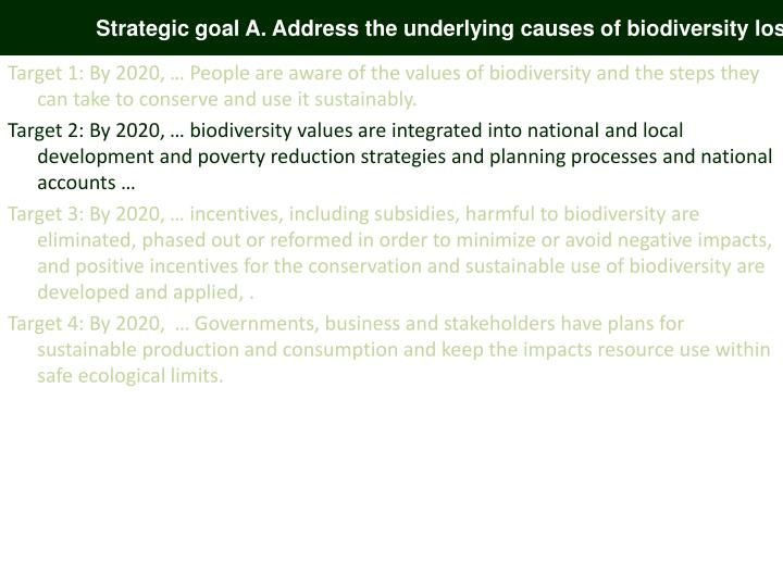 Strategic goal A. Address the underlying causes of biodiversity loss
