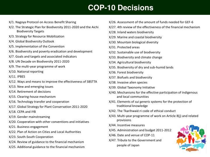 COP-10 Decisions