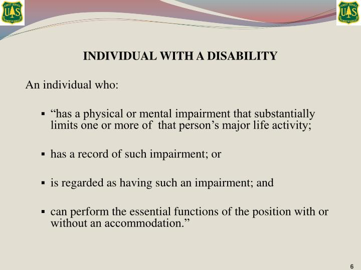 INDIVIDUAL WITH A DISABILITY