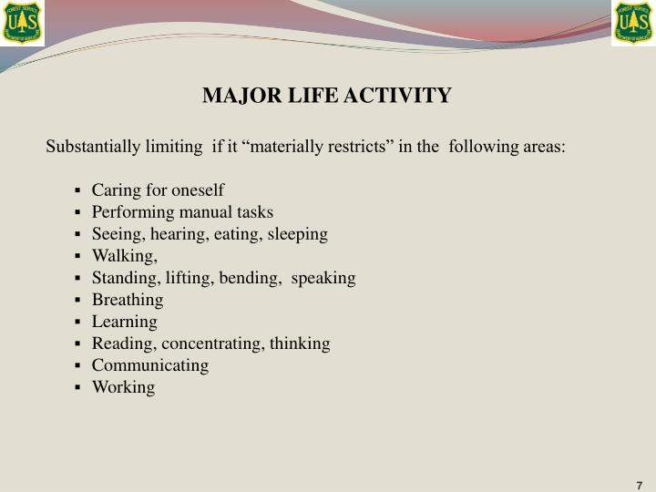 MAJOR LIFE ACTIVITY